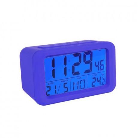 Reloj despertador digital azul